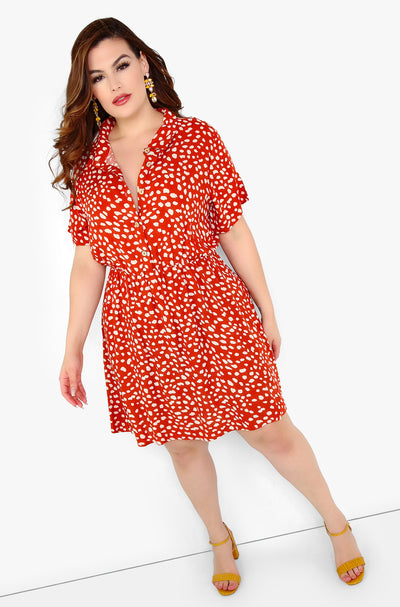 Rust Red A-Line Floral Mini Dress Plus Sizes