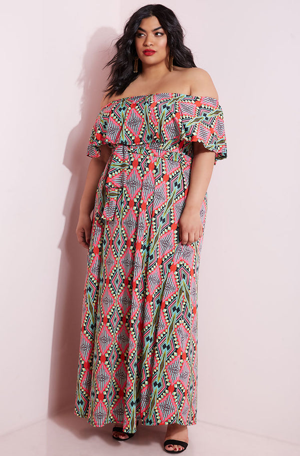 Pink Over The Shoulder Maxi Skater Dress plus sizes