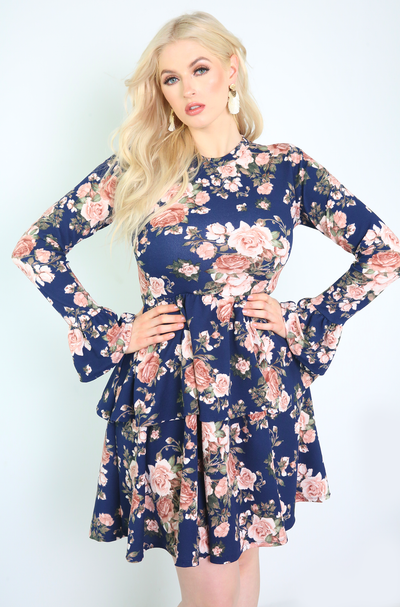 Navy Blue Floral Bell Sleeve Skater Mini Dress Plus Sizes