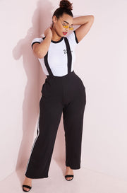 Black Overall Style Pants Plus Sizes