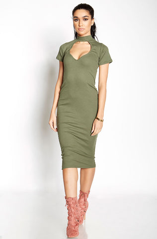 Rebdolls Essential Tank Midi Dress-Olive