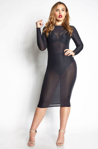 Rebdolls Essential Long Sleeve V-Neck Midi Dress - Black