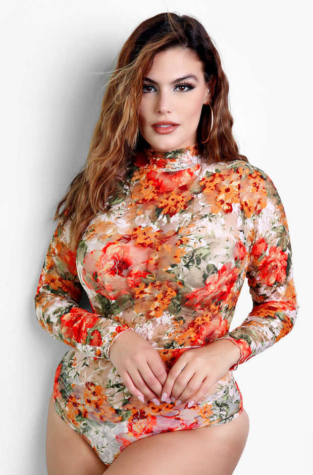 "Rebdolls ""Just For You"" Floral Mesh Long Sleeve Bodysuit"