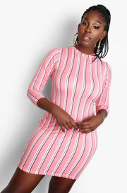 Pink Crew Neck Plus Size Mini Dress With Thumbhole