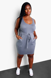 Gray Casual Tie Front Mini Dress w. Pockets Plus Sizes