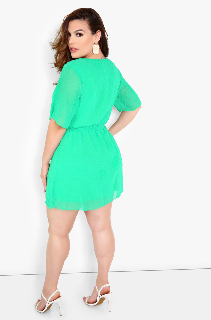 Green Ruffle Skater Mini Dress Plus Sizes