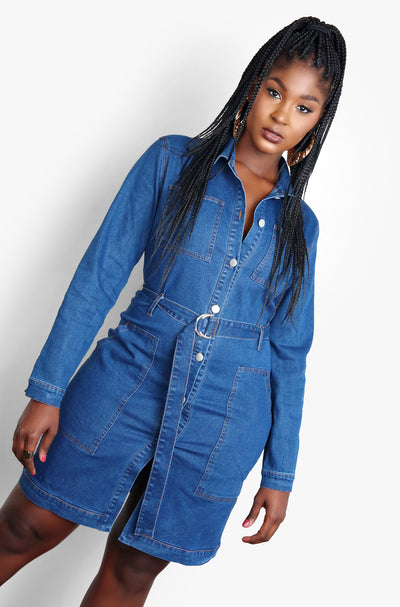 Blue Button Up Collard Denim Mini Dress Plus Sizes