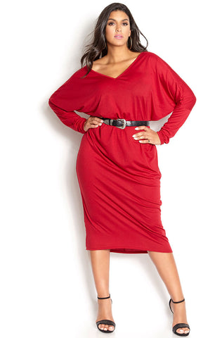 "Rebdolls ""Walk Away"" Cold-Shoulder V-Neck Mini Dress"