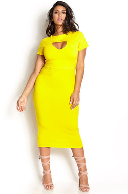 Yellow Keyhole Bodycon Midi Dress plus sizes