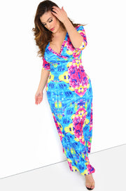 Turquoise 3/4 Sleeve Maxi Dress Plus Sizes
