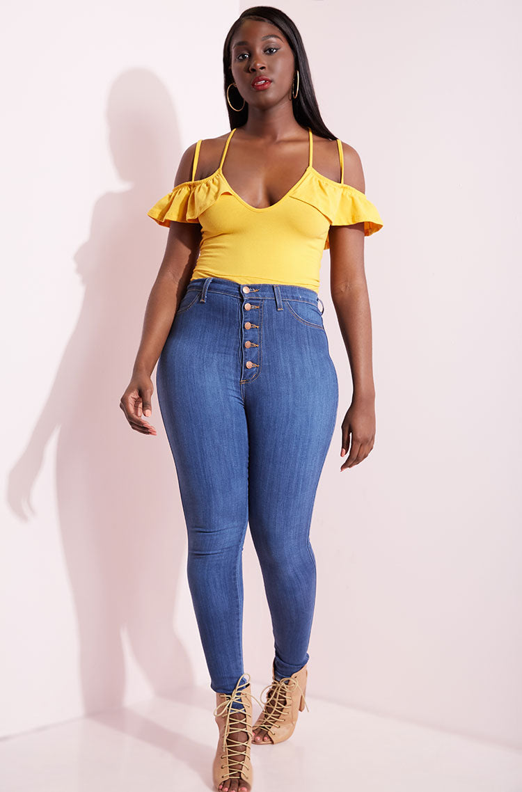 Yellow Caged Bodysuit plus sizes