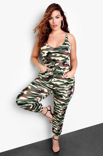 Olive Camo V-Neck Jumper Plus Sizes