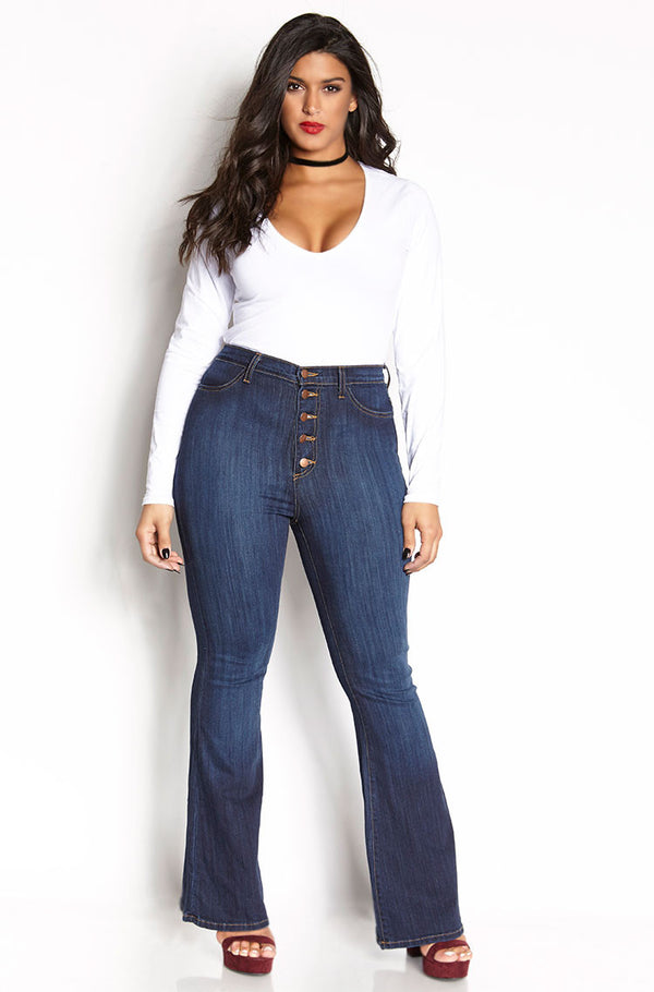 Blue High Waist Bell Bottom Jeans plus sizes