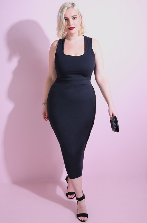 Black Squared Neckline Bodycon Midi Dress Plus Sizes