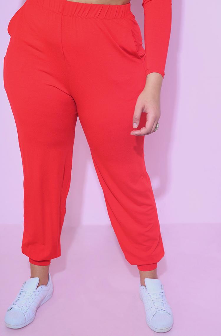 Red Jogger Pants With Pockets plus sizes