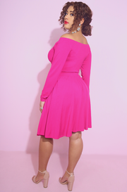 hot pink Cut-Out Skater Mini Dress With Pockets plus sizes