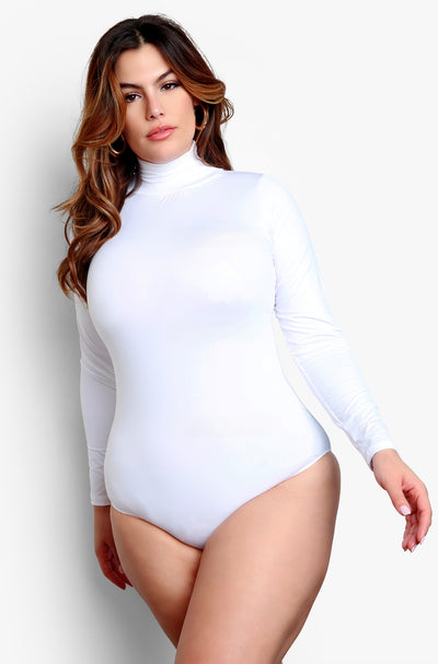 White Plus Size Turtleneck Long Sleeve Bodysuit