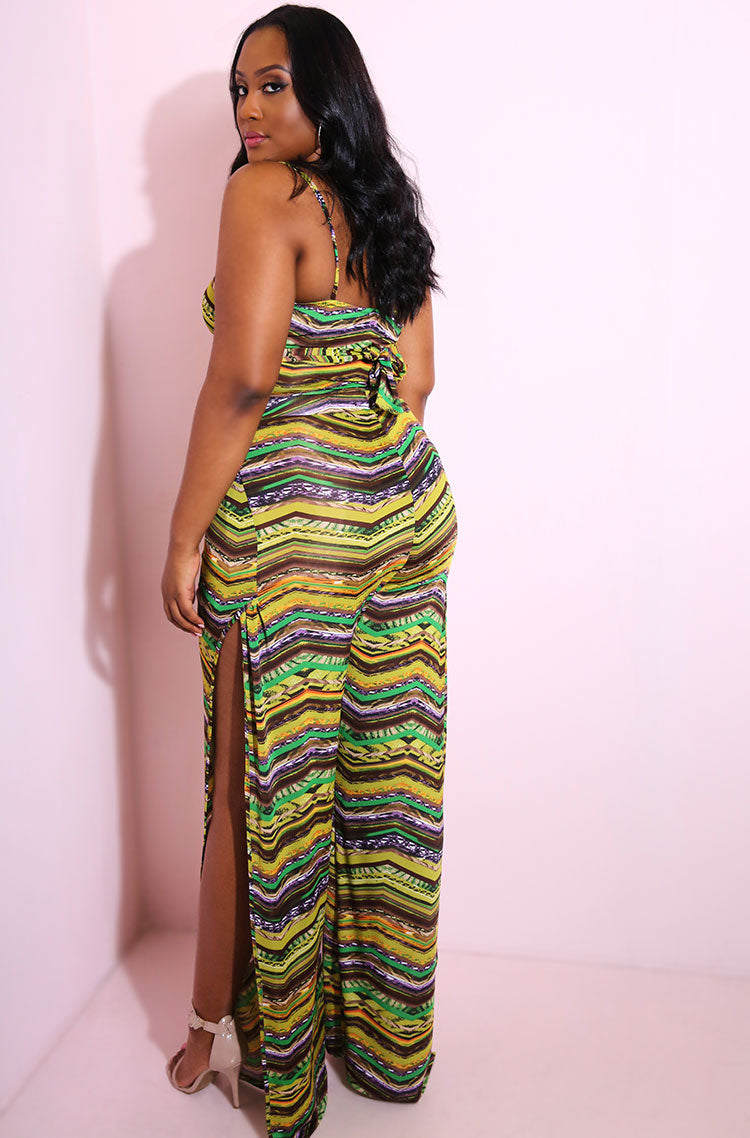Olive Double Slit Pants plus sizes