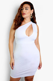 White One Shoulder Bodycon Midi Dress Plus Size
