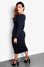 "Rebdolls ""Let It Out"" Cut Out Long Sleeve Bodycon Midi Dress - Black"