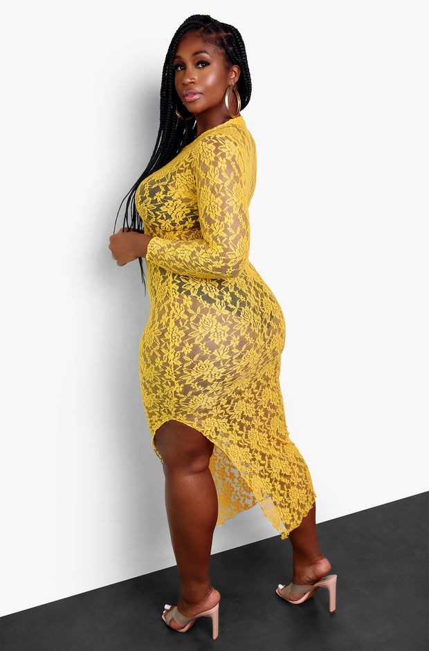 Yellow Mesh Bodycon Maxi Dress Plus Sizes