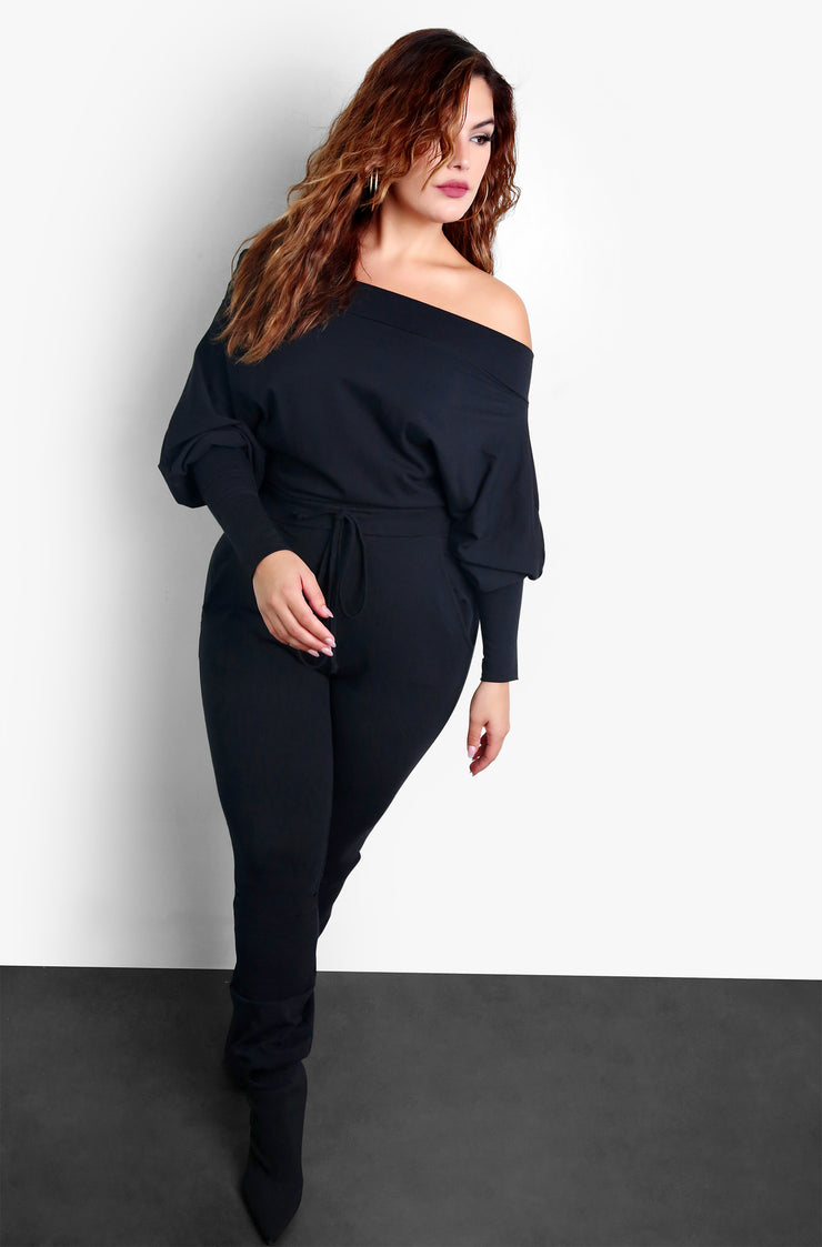 Black Plus Size Over The Shoulder Jumper With Pockets