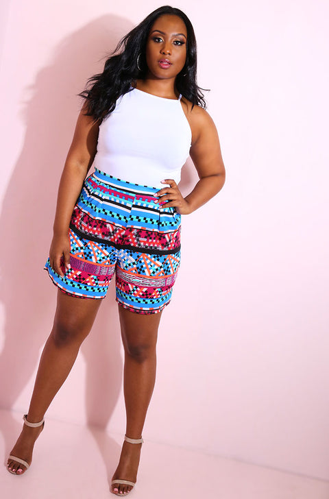 Blue Pleated Shorts plus sizes