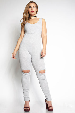 Rebdolls Essential Tank Jumpsuit - Gray FINAL SALE CLEARANCE