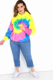 Tie neon yellow Dye Hoodie Plus Sizes
