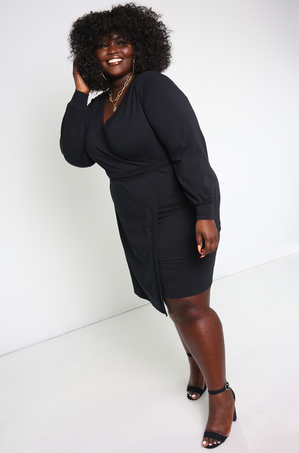 Black Wrap around Mini Dress Plus Sizes