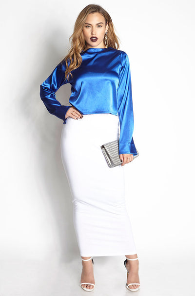 Blue Satin Crop Top plus sizes