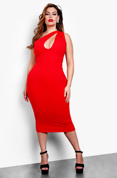 Red Plus Size One Shoulder Keyhole Bodycon Midi Dress