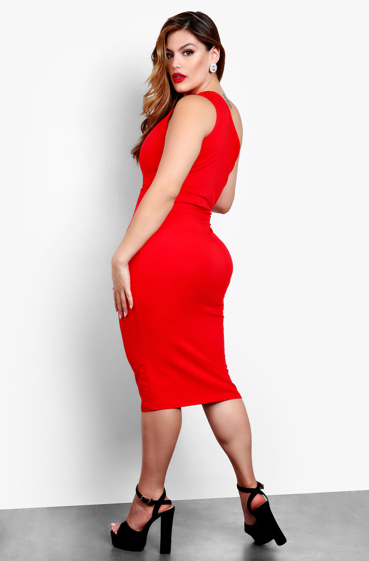 "Rebdolls ""Little Sneak Peak"" One Shoulder Keyhole Bodycon Midi Dress - Red"