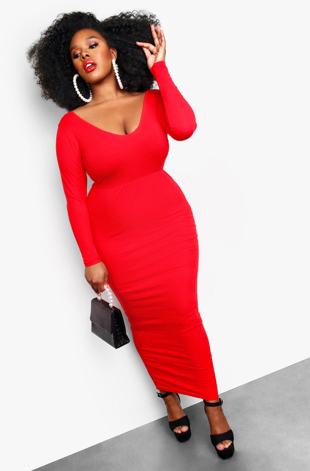 Red Essential Drop Sleeve Bodycon Maxi Dress Plus Sizes