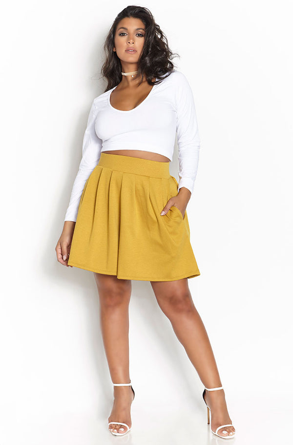 Mustard High Waist Ponte Shorts Plus Sizes