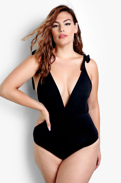 Black Tie Straps Plunge Neckline Bodysuit Plus Sizes