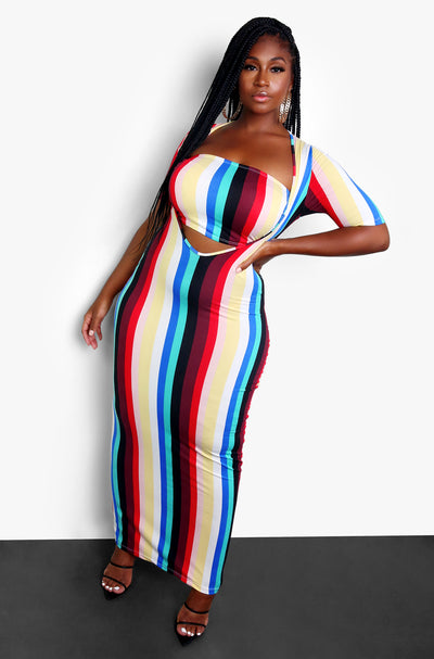 Multicolor Striped Bodycon Maxi with Cut Out Plus Sizes