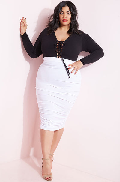 White Ruched Knee Length Bodycon Skirt Plus Sizes
