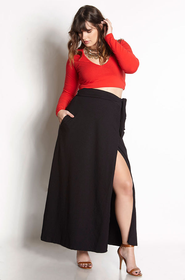 Black Maxi Wrap Skater Maxi Skirt With Pockets Plus Sizes