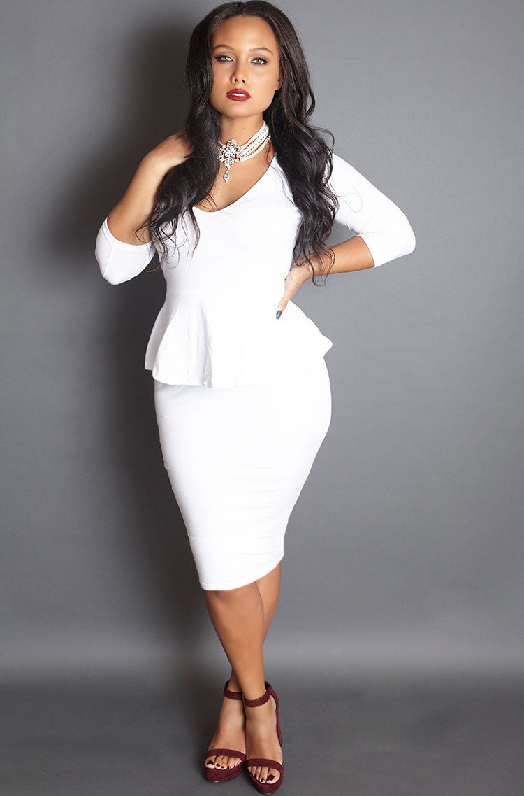 White Bodycon Peplum Mini Dress plus sizes