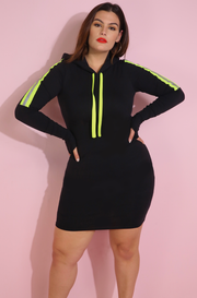 Neon Green Reflective Strip Black Caped Mini Dress Plus Sizes