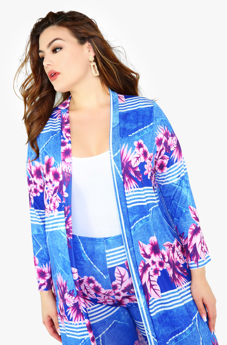 Light Blue 3/4 Sleeve Cardigan Plus Sizes