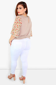White High Waist Skinny Jeans Plus Size