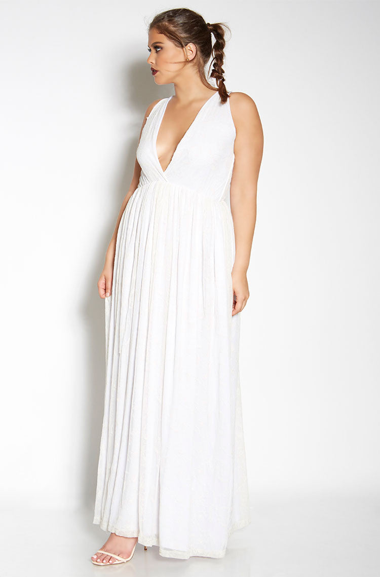Cream Lace Skater Maxi Dress plus sizes