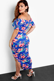 "Rebolls ""Luau Party"" Tropical Floral Over The Shoulder Bodycon Maxi Dress"