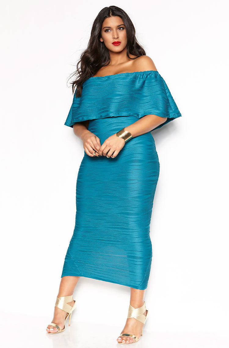Turquoise Textured Over The Shoulder Bodycon Maxi Dress plus sizes