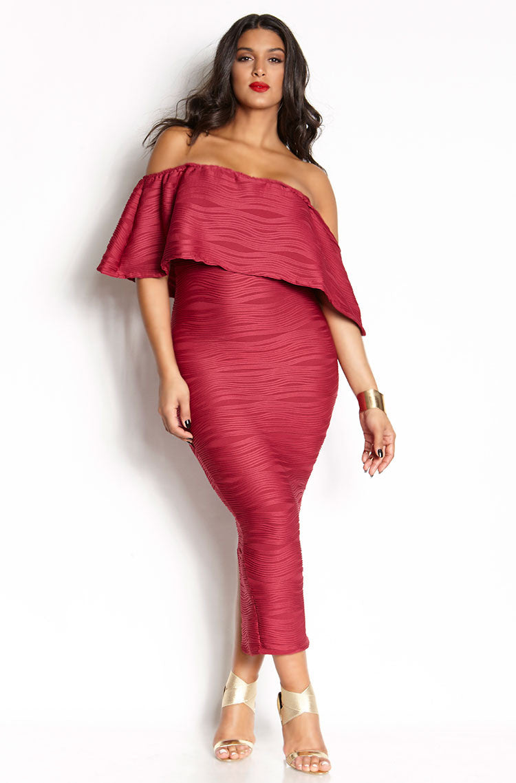 Fuchsia Textured Over The Shoulder Bodycon Maxi Dress plus sizes