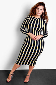Black Striped Long Sleeve Bodycon Midi Dress Plus Sizes