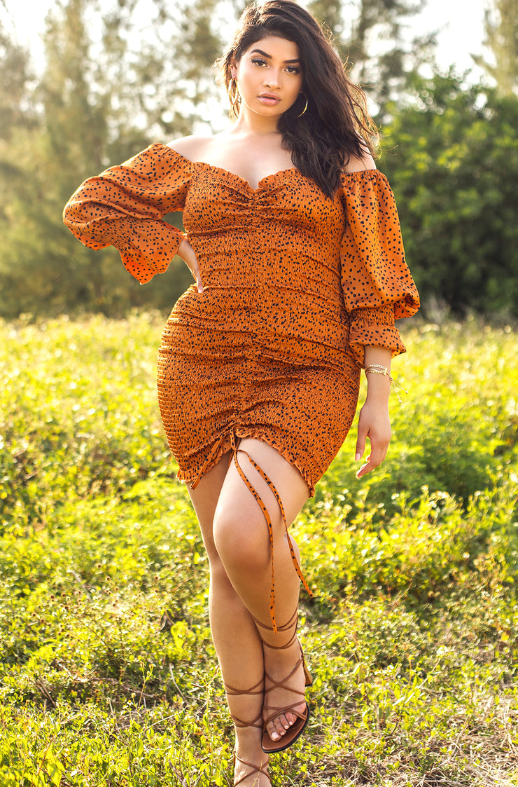 Burnt Orange Polkadot Smocked Long Sleeve Midi Dress Plus Sizes