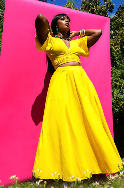 Yellow Pleated Maxi Skirt Plus Sizes